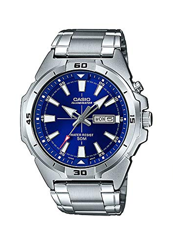 Casio MTP-E203D-2AV Men's Enticer Stainless Steel Super Illuminator Day Date Blue Dial Watch