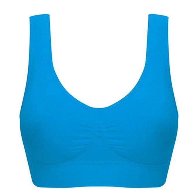 BOYANN Sujetadores Deportivos Talla Grande Mujer Sin Costura, Azul L: Amazon.es: Ropa y accesorios