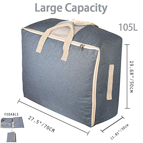 Grey Qozary 3 Pack Large Foldable Storage Bag Organizer Clothes Storage Container for Blanket Comforter Clothing Bedding with Durable Handles 122L