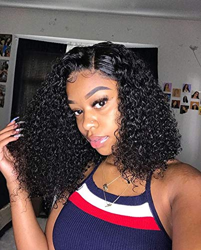 Human Hair Lace Front Wigs Short Bob 150% Density Water Wave Human Hair Wigs with Baby Hair for Black Women Natural Color 14 inch