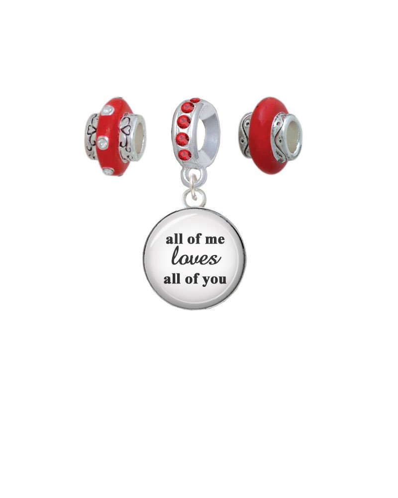 Silvertone Domed All of Me Loves All of You Red Charm Beads (Set of 3)