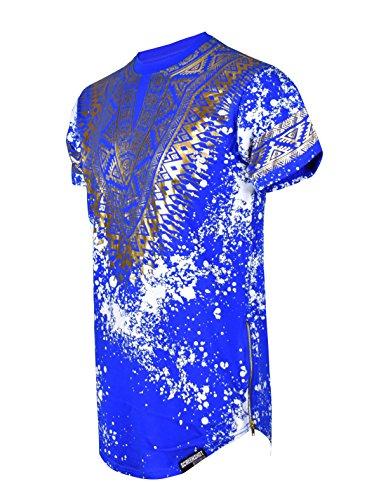 SCREENSHOTBRAND-730 Mens Hipster Hip-Hop Premium Tees - Stylish Longline Side Zipper Fashion T-Shirt Dashiki Gold Print - Royal - Medium