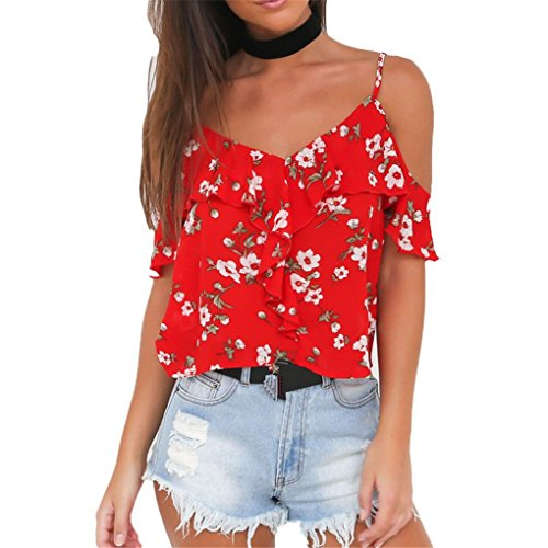 Price comparison product image Women Vest, Haoricu Hot Sale!2017 Summer Sexy Fashion Women Flower Strapless Casual Blouse (Asian Size:L,  Red)