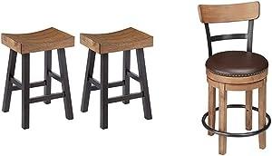 Signature Design by Ashley Glosco Counter Height Bar Stool, Medium Brown/Dark Brown & Design - Pinnadel Swivel Barstool - Counter Height - Brown