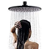 LightInTheBox Contemporary Ceiling Mounted 9 inch Round Rain Shower Head with Rubber Nozzles Black Matte Painting 360° Free Rotation