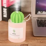 fosa 280ML Mini Cool Mist Humidifier,Portable Quiet Operation Air Purifier Diffuser with Adorable Cactus Design,USB Port,4 Hours Automatic Shut-Off for Car Office Home Study Yoga Babyroom(Pink)