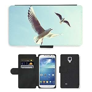 Super Stella Cell Phone Card Slot PU Leather Wallet Case // M00144574 Animals Birds Sea Gulls Flying // Samsung Galaxy S4 S IV SIV i9500