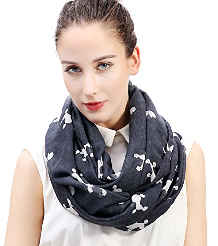 White Poodle Scarf (Lina & Lily Poodle Dog Print Women's Infinity Scarf Lightweight (Grey&White-L))