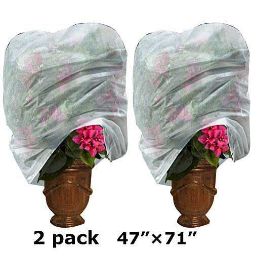 Plant Covers Bag for Winter Freeze Protection, Reusable Frost Plant Protection Cover Anti-UV 47 ×71 Inches Rectangle (2 Pack)