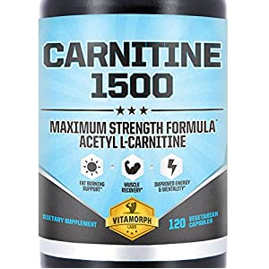 Acetyl L Carnitine 1500mg Per Serving | Highest Potency Acetyl L Carnitine HCl Supplement for Mentality, Energy, Fat Metabolization & Weight Loss | 120 Vegetarian Capsules