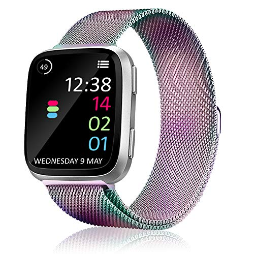 (BRIGTLAIFF Metal Bands Compatible for Fitbit Versa Smartwatch, Adjustable Fitbit Versa Band Replacement Milanese Mesh Loop Stainless Steel Bracelet Straps Accessories for Women Men - Rainbow, Large)