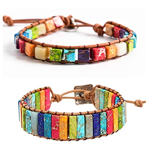YGLINE Amazonite Handmade Wrap Bracelet Tree of Life Natural Stone Bracelet (2pcs Chakra Rectangle +Square Beads) ()