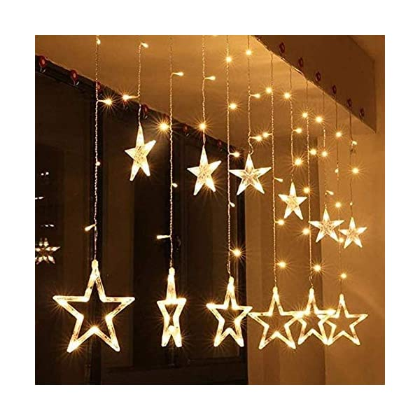 SALCAR luci colorate di Natale del LED 2 * 1 metro 12 stelle colorate illuminano tenda per le feste di Natale, Decorare, Party, 8 programmi scelta di colori (bianco caldo) 2 spesavip