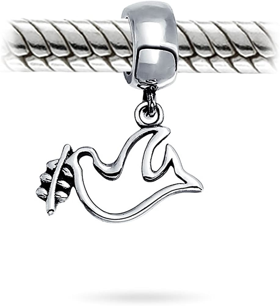 Sterling Silver Womens 1mm Box Chain Dove Flying Downward Pendant Necklace
