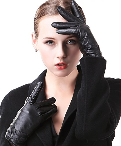 """Harrms Best Luxury Touchscreen Italian Nappa Genuine Leather Gloves for women's Texting Driving Cashmere Lining (M-6.8""""(US Standard Size), BLACK(CASHMERE LINING ))"""