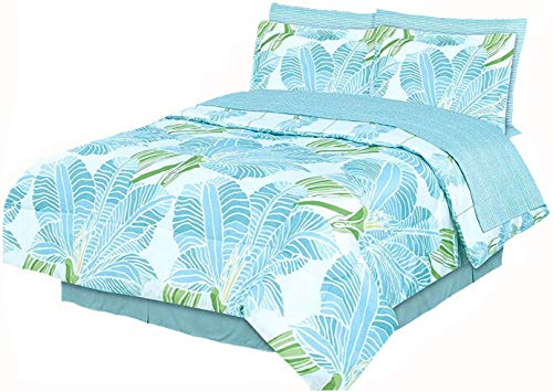 Coastal Paradise Blue Tropical Palm Tree Leaves 8pc Comforter 101 X 86 Bed in A Bag Set