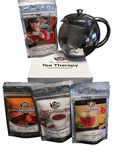 Stainless & Glass Tea Pot with Infuser and 4 Great Flavored Organic H (Gingermint Body)