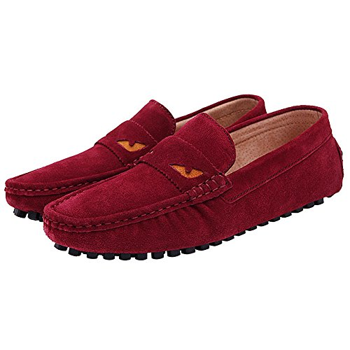 Rismart Hommes Mocassins De Conduite Slip-on Daim En Cuir Plat Penny Loafer Chaussures Rouge