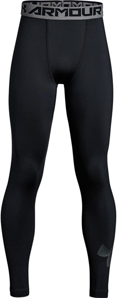 Under Armour Boys' ColdGear Leggings, Black (001)/Graphite, Youth X-Large