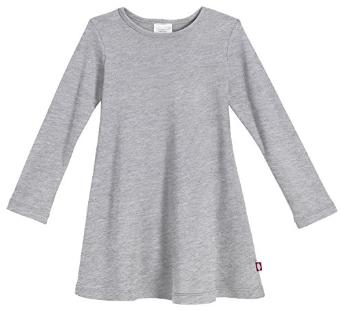 City Threads Big Girls' Cotton Long Sleeve Dress For School or Play For Sensitive Skin SPD Sensory Friendly, Heather Gray, 10