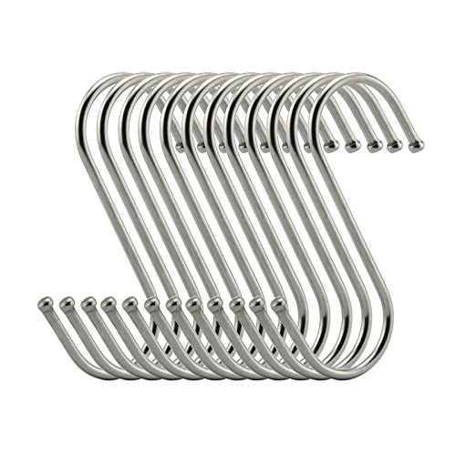 Topick S Hooks 2 Inch S Shaped Utility Hooks, 30 Pack Hanging Hooks Stainless Steel Metal Hanger Heavy Duty Hooks, Storage Holders Kitchen, Work Shop, Bathroom, Plants, Office, Garden (2in BOLD) by Topick