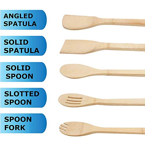 Personalized Custom Engraved 5 PCS Natural Eco-Friendly Bamboo Cooking Utensil Set/Spoon,Folk & Spatula Mix/Non Stick Wooden Kitchen Gadget Pan Cookware Baking Cooking/Great Gift For Chef & Foodies