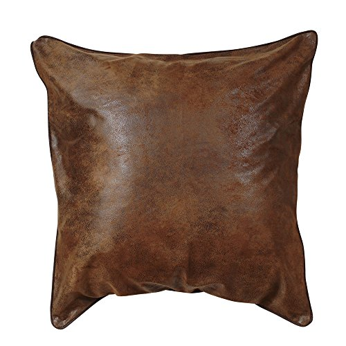 BLACK FOREST DECOR Medium Brown Faux Leather Western Euro Sham - Forest Black Leather