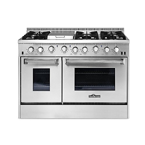 THOR KITCHEN HRG4808U 48in Stainless Steel Kitchen Cooker 6 Burner Gas Range with Double Oven -