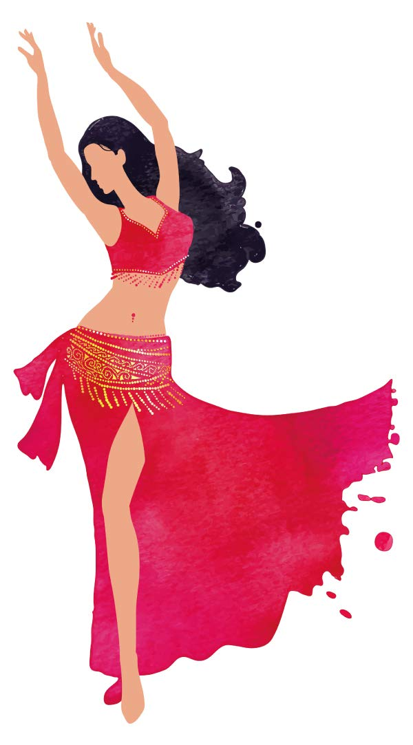 Wandtattoo Orient Wandsticker Orientalische Tänzerin im roten Gewand orientalis
