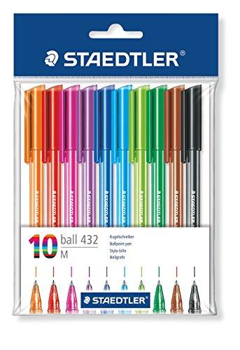 Staedtler 43235MPB10 stick Kugelschreiber Linienbreite M, 0.45 mm, Schaft in Schreibfarbe, 10 Stück im Polybeutel