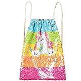 Little Girls Flip Sequin Backpack Unicorn Drawstring Bags