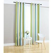 "Kingsun Home Fashion Stripe Chenille Grommets Curtains,Two Panels (52"" X 90"", Green/Blue/White)"