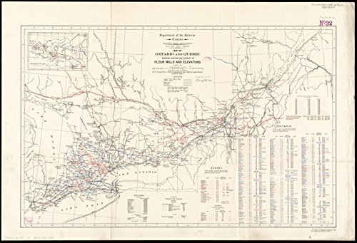 Historic Map | 1911 Map of Ontario and Quebec showing location and capacity of flour mills and elevators | Antique Vintage - Ontario Location Mills