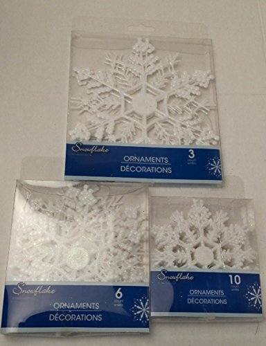 Christmas Holiday Christmas Snowflake Snowflakes Flowers Leaves Winter Home Decor Decoration Decorations White 3 Piece (Homemade Costumes With Tights)