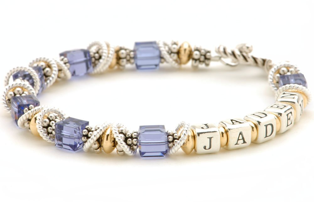 Personalized Crystal Name Bracelet - Sterling Silver & 14k Gold-filled Beads by Lily Brooke