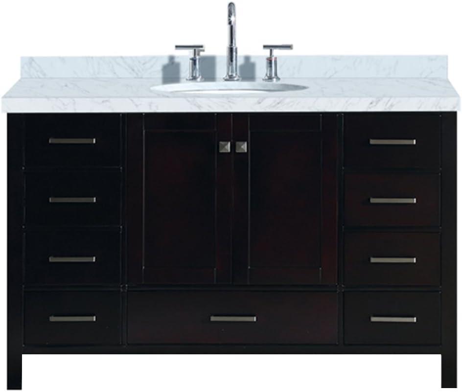 ariel cambridge a055s vo esp 55 inch single oval sink solid wood espresso bathroom vanity with 1 5 inch edge white carrara marble countertop