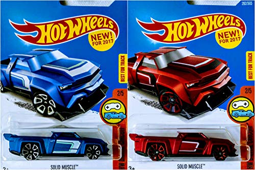 Hot Wheels 2017 Solid Muscle Satin Red 292/365 and Solid Muscle Satin Blue Chase Model 2 Car Bundle Set