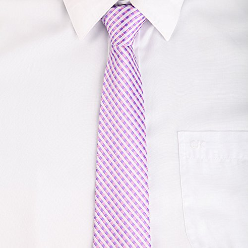 (New Classic Polyester Men's Neck Tie Stripe Jacquard Wedding Groom Party Necktie Lilac)