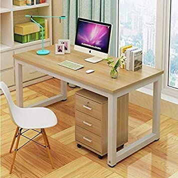 Computer Desk 47 ,Modern Simple Style PC Table Writing Desk withWorkstation Office Desk Walnut with White Leg