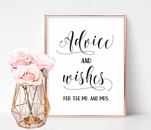 Bridal Shower Signs, Bridal Shower Games, Well Wishes Sign, Wedding Reception Signs, Marriage Advice Sign, Advice and Wishes for the Mr. and Mrs.
