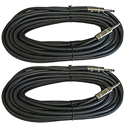 MCSPROAUDIO 12 Gauge Speaker Cables 2 CABLE PACK (50 Foot, 1/4 inch to 1/4 inch)