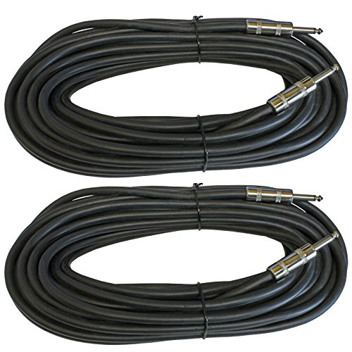MCSPROAUDIO 12 Gauge Speaker Cables 2 CABLE PACK (50 Foot, 1/4 inch to 1/4 inch) by MCSproaudio
