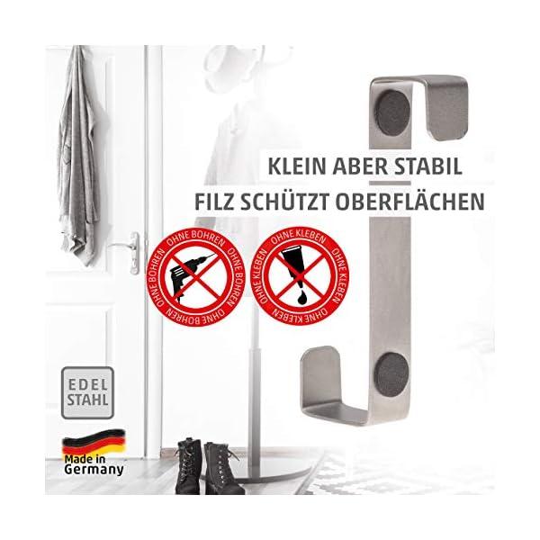 51n0iNd4GcL 4smile Türhaken zum Einhängen – 10er Set, Edelstahl – Made in Germany Kleiderhaken für die Tür – weil Ordnung halten so…