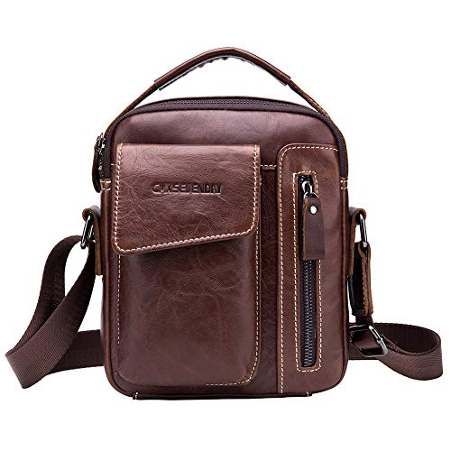 CMXSEVENDAY 9-Inch Shoulder Bag, Small Leather Messenger Crossbody Purse, Vertical Style - Brown (NOB037) (Cover Case A517)
