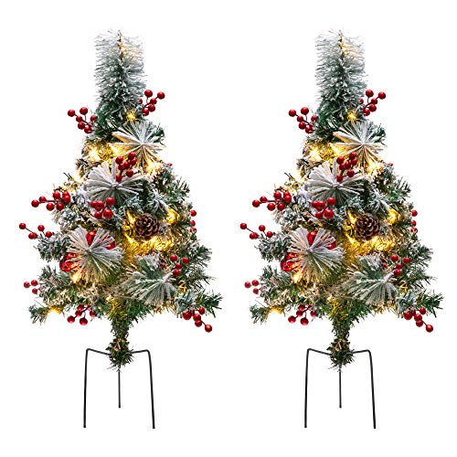 Best Choice Products Set of 2 24.5in Outdoor Pre-Lit Snow Flocked Artificial Pathway Christmas Trees w/ 70 Tips, LED Lights, Red Berries, Frosted Pine Cones, Red Ornaments (Filler Holiday Urn)