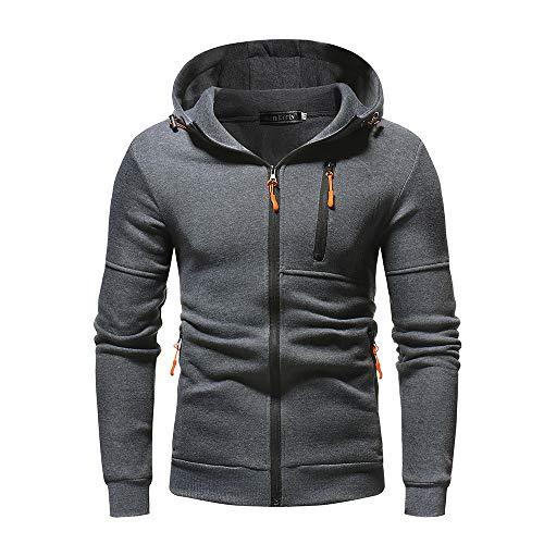 Sunhusing Men's Autum Winter Slim Solid Color Sweater Zipper Decorative Hoodie Sweatshirt