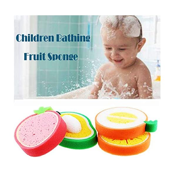 Baal Set Of 2 Pcs Fruits Shape Baby Bathing Sponge For Kids Scrubber In Multicolor 20 Gram Pack Of 1