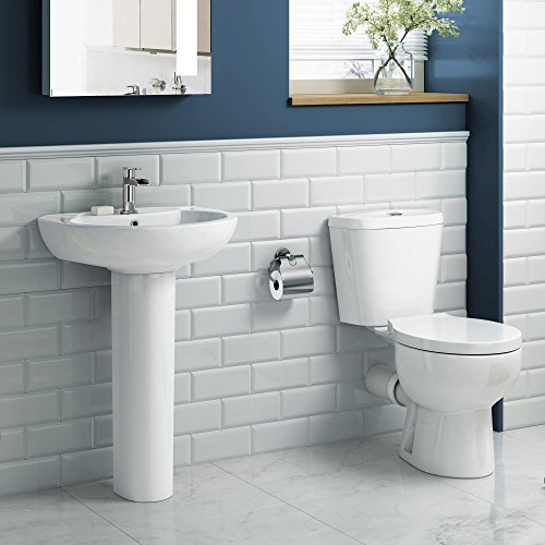 Round Pedestal Basin & Close Coupled Toilet Complete Bathroom Suite Set CS613A iBathUK