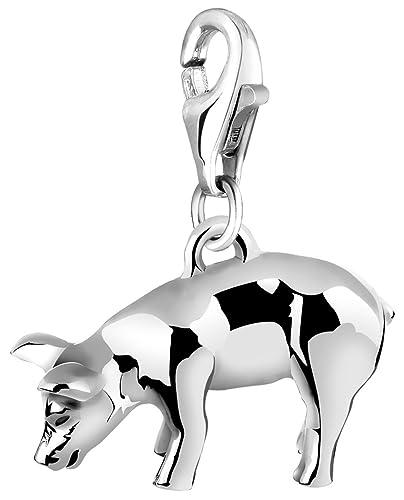 Charm Anhänger Schwein mit Karabinerverschluß aus 925 Sterling Silber