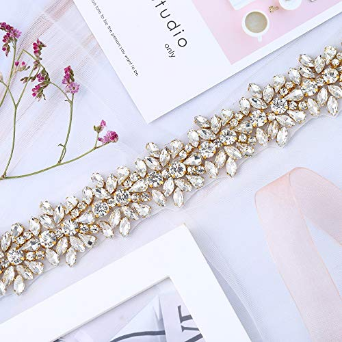 XINFANGXIU Gold Rhinestone Wedding Applique by The Yard, Crystal Bridal Belt Applique Handcrafted Sparkle Elegant Thin Sewn or Hot Fix for Women Gown Evening Prom Dresses Sashes